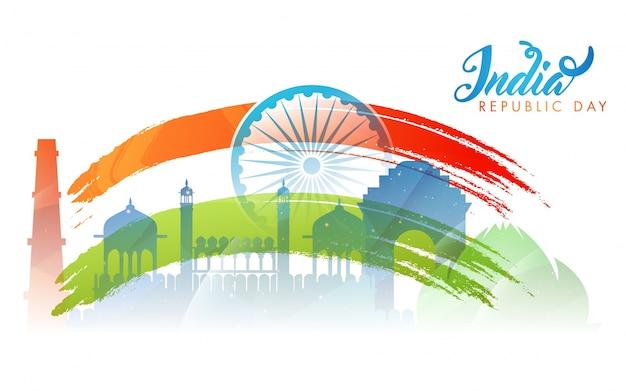 インドの旗の色のためのインドの記念碑の背景、アホカの車輪。