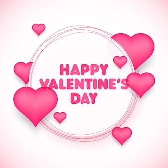ハートバレンタインデーの祝賀コンセプト、ピンクのハートを円形のフレームに収めました。