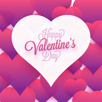 С днем святого валентина приветствие с белой бумаге сердце на фоне розового сердца.