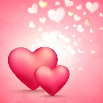 Глянцевая сердце формы на блестящем розовом фоне. с днем святого валентина празднования концепции.