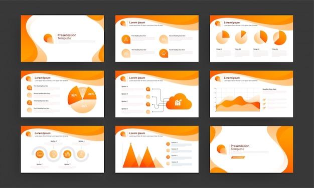 インフォグラフィック要素を含むビジネスプレゼンテーションテンプレート