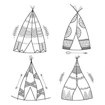 ボホスタイル、手描きのティーピーまたはトライバルパターンのウィグワム