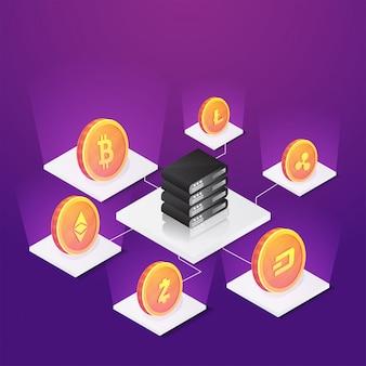 紫の背景にサーバーから接続された暗号コイン