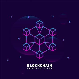 紫の背景にブロックチェーンの概念