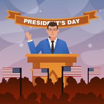 大統領の日のフラットイラストで大統領のスピーチ