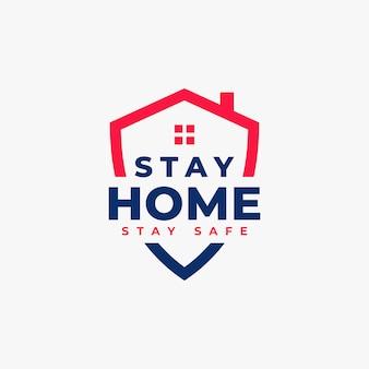 コロナウイルスは家にいて安全なロゴのコンセプトを保つ