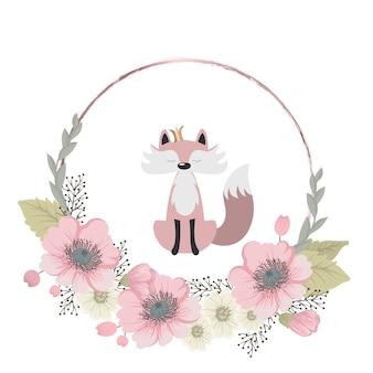かわいい甘いキツネが花を集める