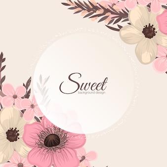 花のグリーティングカード。ベクトル背景。