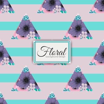 Цветочный узор с цветами и геометрическими элементами