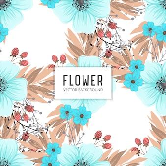 Цветочный букет векторный узор с цветами и листьями