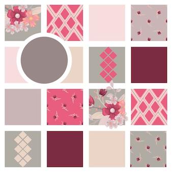 Цветочная композиция с яркими цветками и геометрическими элементами