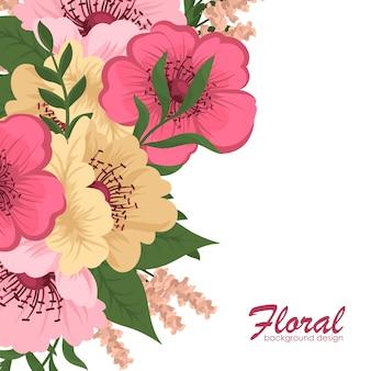 花、水彩とグリーティングカード。ベクトルフレーム