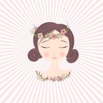 Красивая девушка с нежными цветами в волосах