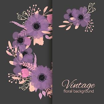 ピンクと紫の花のベクトルデザインのバナー