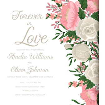 ピンクの花の結婚式招待状。