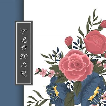 Шаблон поздравительной открытки с цветочным фоном