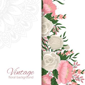 グリーティングカードテンプレート、花の背景