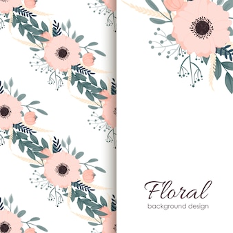 花の背景とバナーのテンプレート