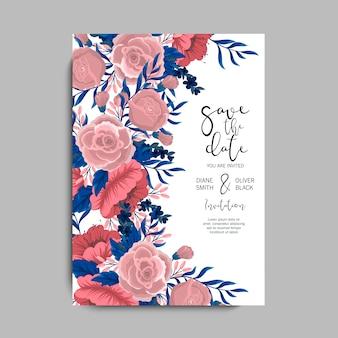 花バラのウェディングカード
