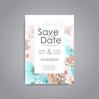 花の結婚式の招待カードスイートテンプレート