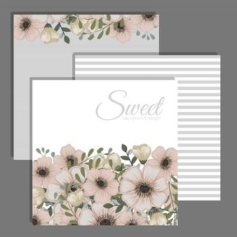 結婚式招待状は、花を持つテンプレートを設定します。