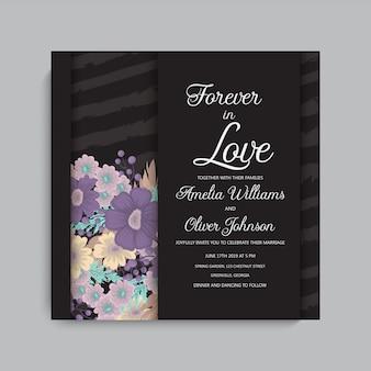 花でスタイリッシュな暗い結婚式のフレーム。