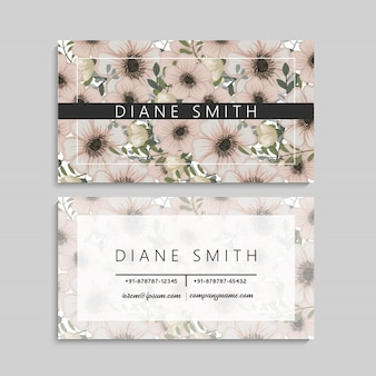 Набор передней и задней визитки с цветами