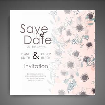 Свадебные приглашения установлены. красивые цветы. поздравительная открытка шаблон