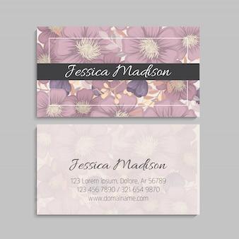 Цветочный стиль визитной карточки шаблон вектор