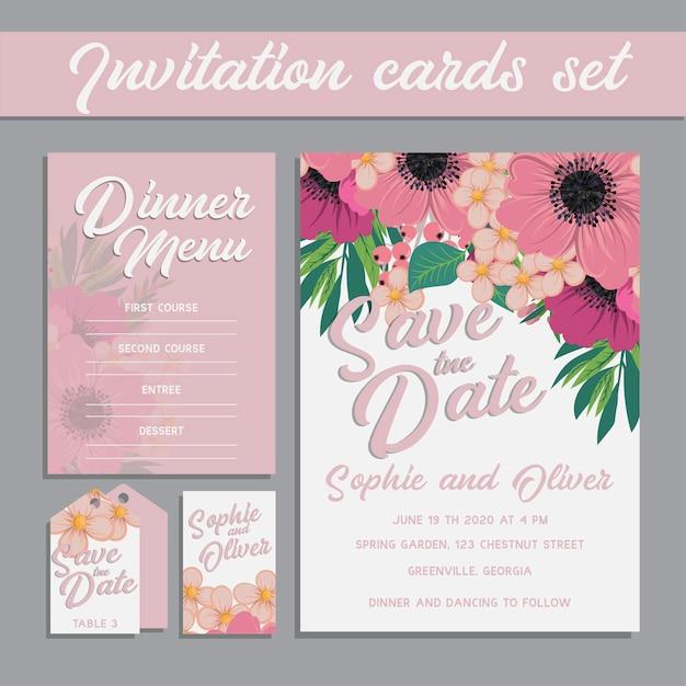 花のテンプレートと結婚式の招待カードスイート。