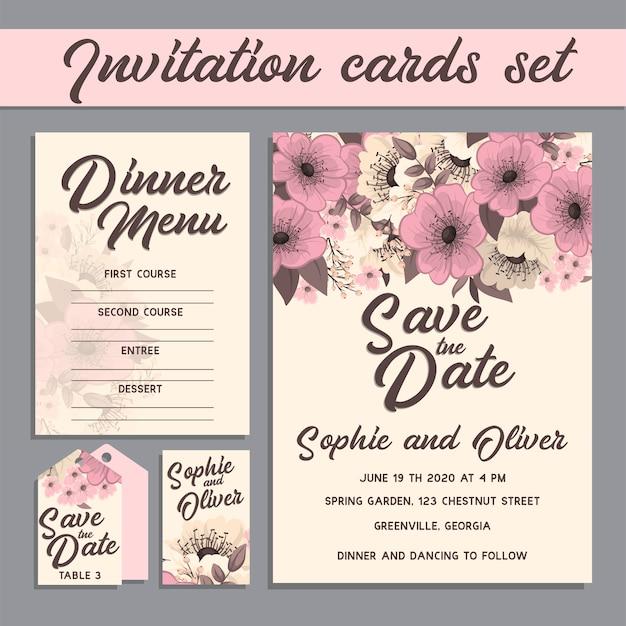 花と結婚式の招待カードスイート
