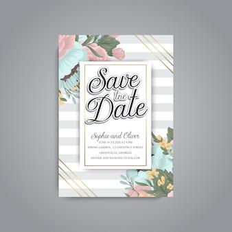 Набор свадебных пригласительных билетов с цветком