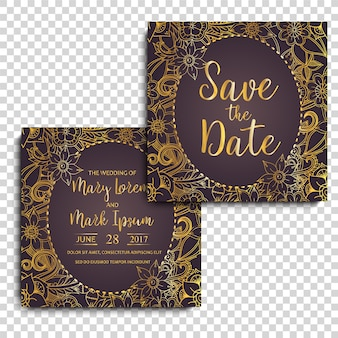 Золотой декоративный дизайн свадебных открыток