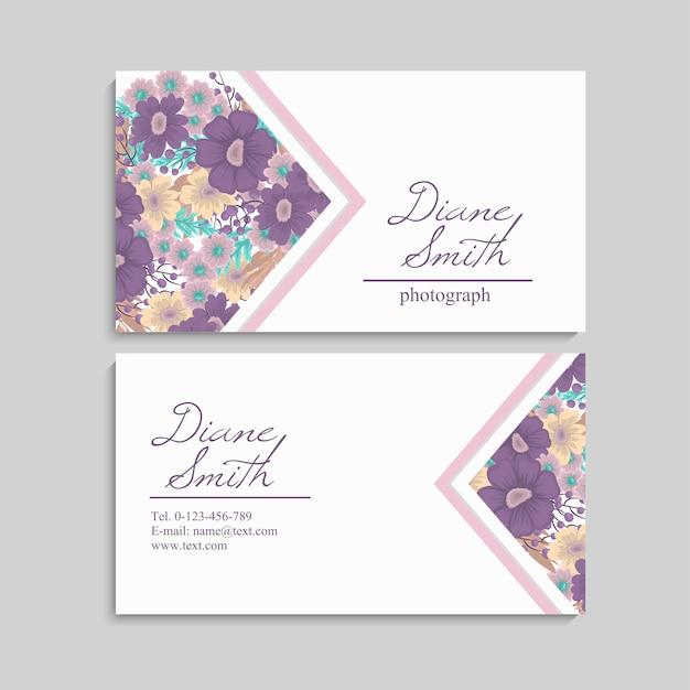 美しい花柄のデザイン名刺