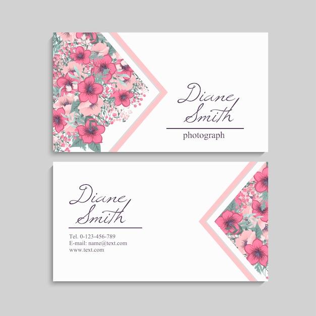 Красивый цветочный дизайн визитки