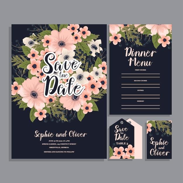 Свадебная пригласительная открытка с цветами.