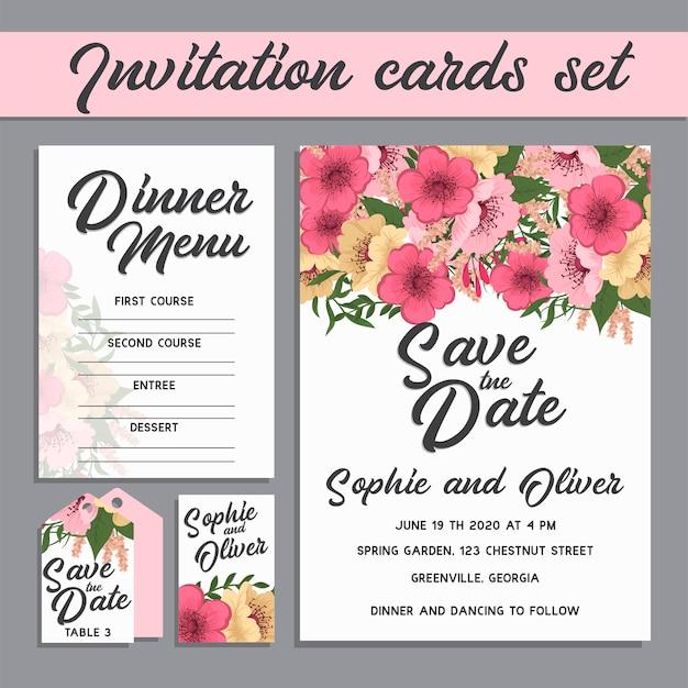 花と結婚式の招待カードスイート。