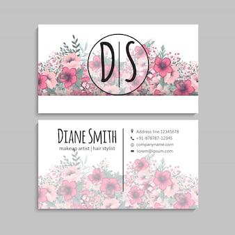 Симпатичные цветочный узор визитная карточка