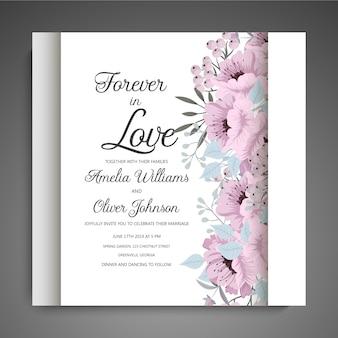 Цветочные свадебные приглашения элегантный пригласительный билет вектор