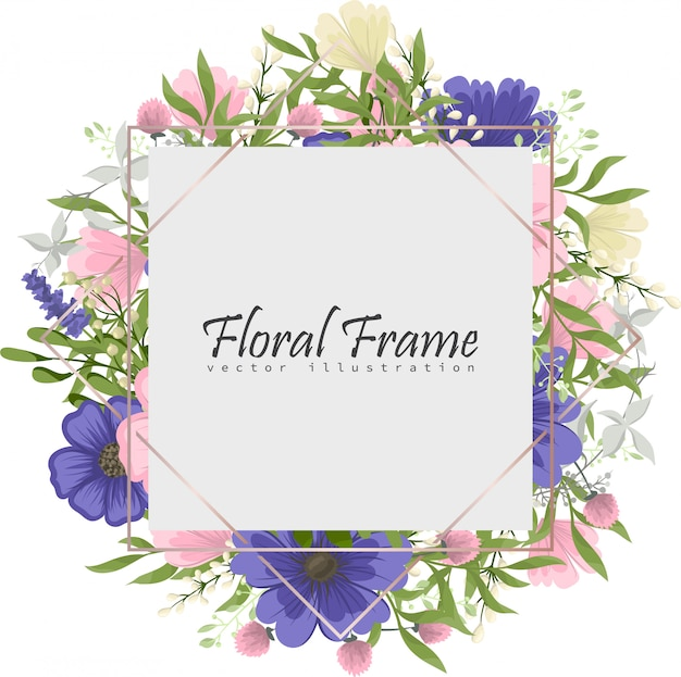 色とりどりの花で花のフレームのセットです。