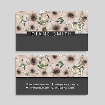 Винтажная визитная карточка с цветами и ягодами