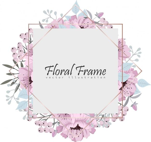 Цветочная рамка с красивыми цветами.