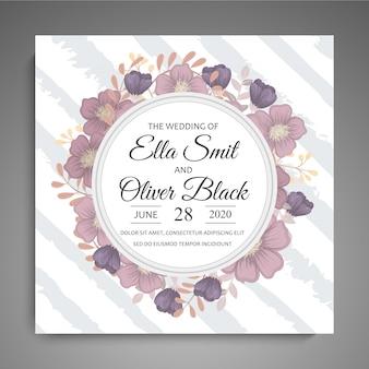 Свадебная пригласительная открытка с цветами. шаблон. векторная иллюстрация