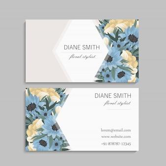 Шаблон визитки с красивыми цветами