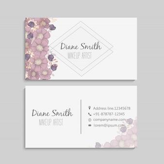 カラフルな質感と花、葉、ハーブのデザインテンプレート名刺。