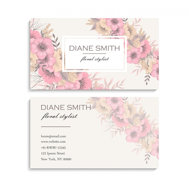 Визитная карточка с цветами