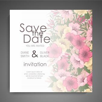 花の結婚式の招待状エレガントな招待状カードデザイン