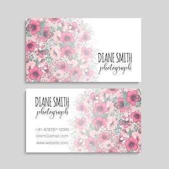 名刺テンプレート、花の背景パターン