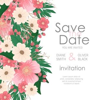 花の結婚式の招待状エレガントな招待状カード