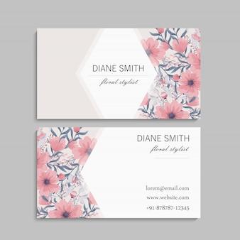 Визитная карточка с красивыми цветами шаблон